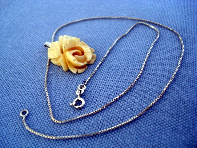 Antique Carved Bone Rose Pendant Large Size On New Silver Chain Sold